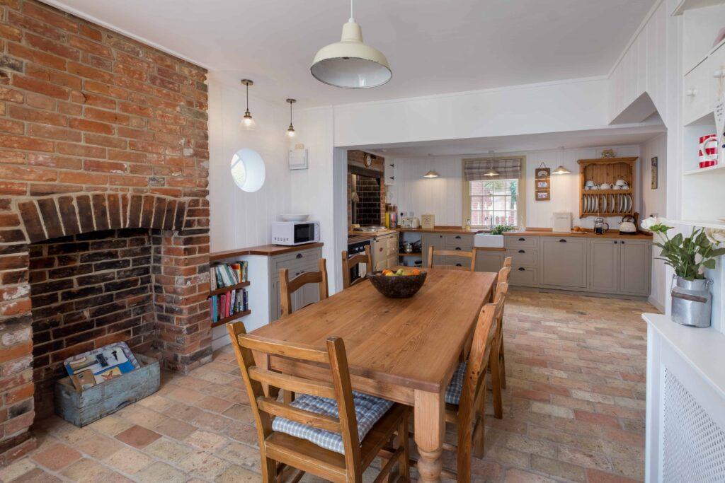 brick floor in country kitchen