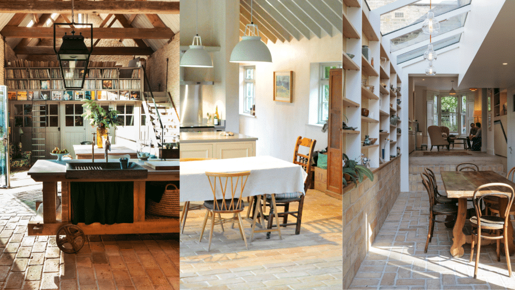 Country Kitchen ideas with a brick floor - Lubelska