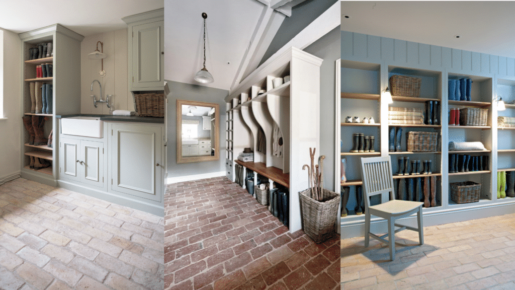 boot rooms, mudrooms ideas with a brick floor