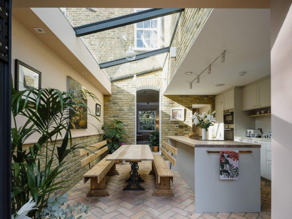 brick floor in kitchen extension