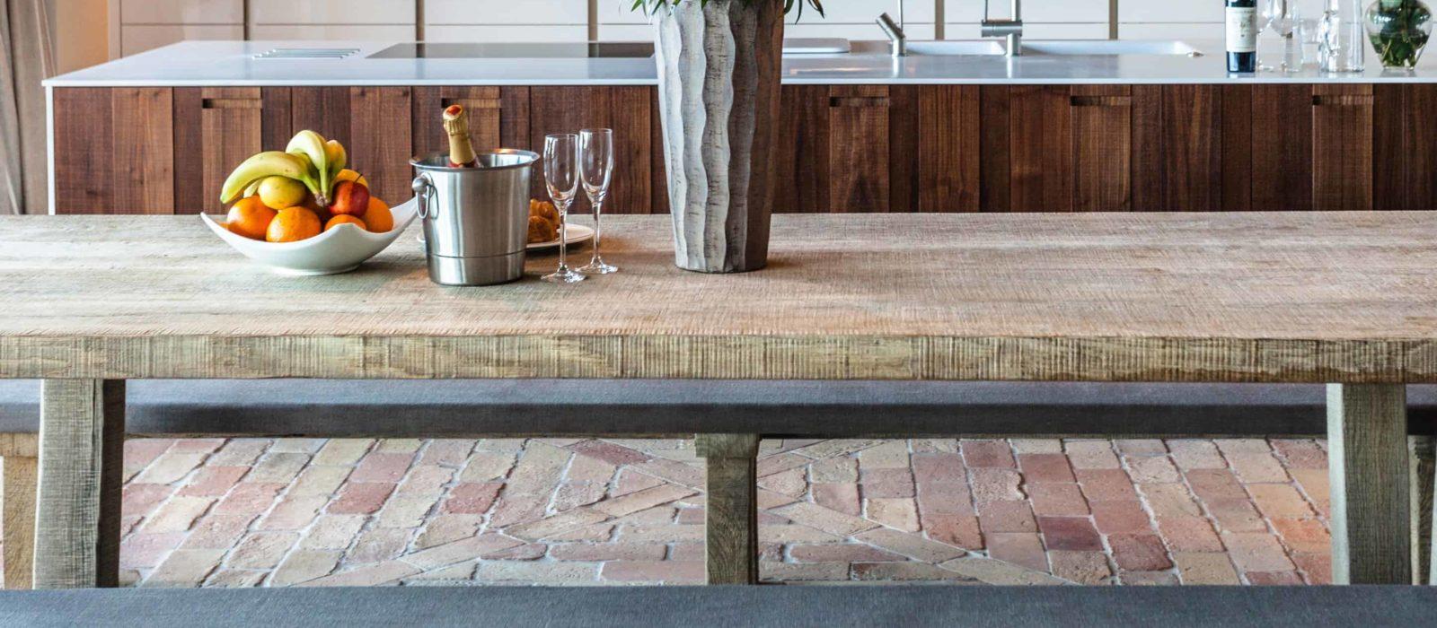 brick floor tiles in kitchen