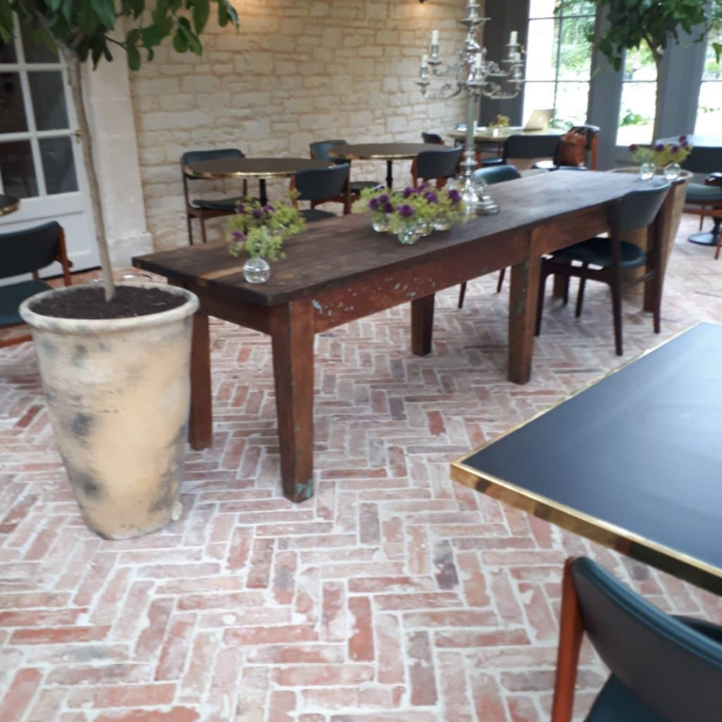 brick floor in parquet