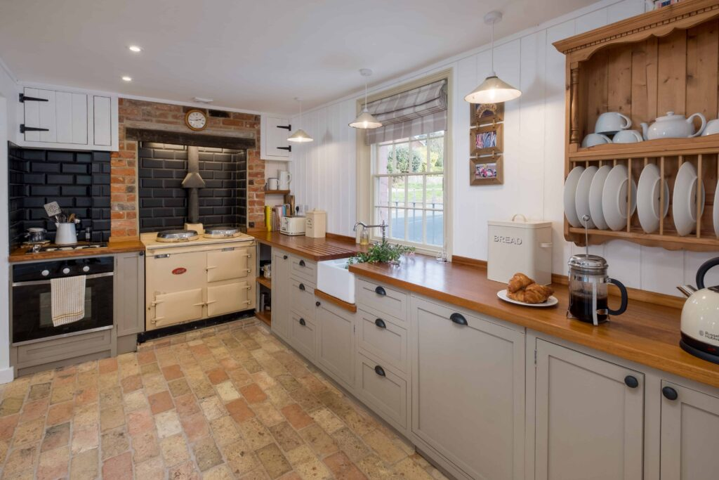 Country kitchen with brick floor