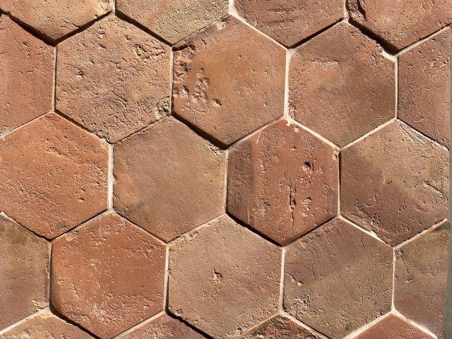 warm hexagonal terracotta tile - reclaimed