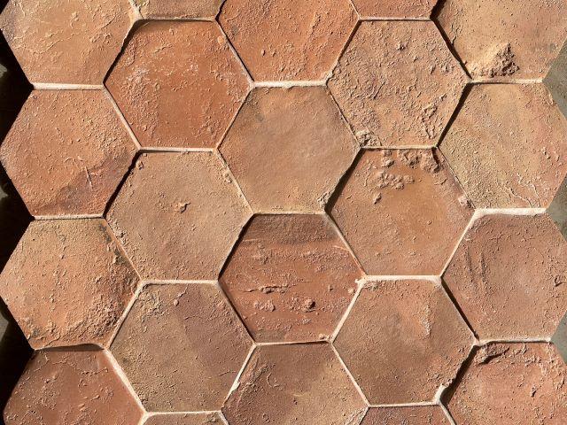 hexagonal terracotta tiles