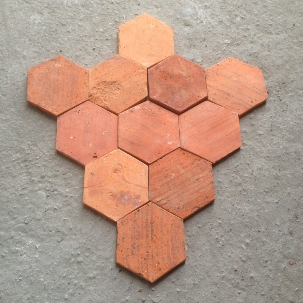 hexagonal reclaimed warm terracotta tiles