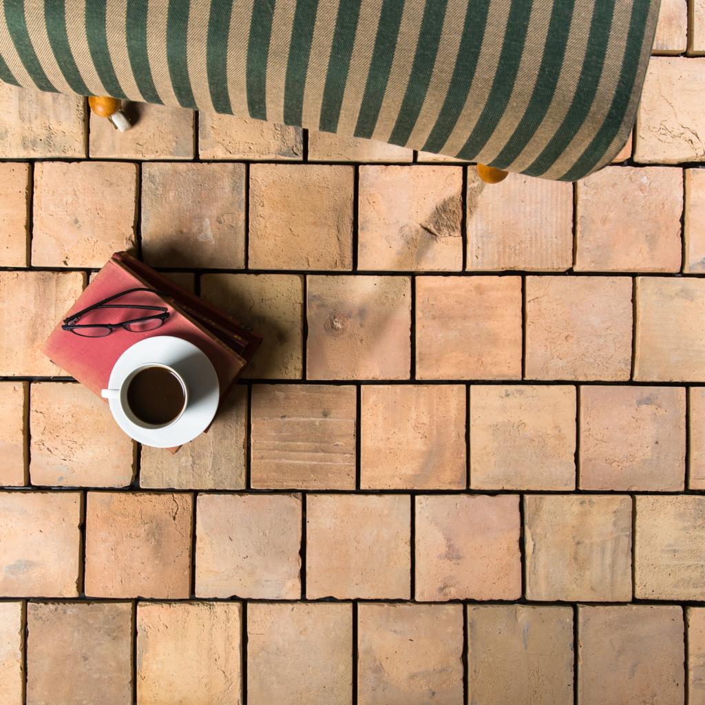 square pale reclaimed terracotta tile