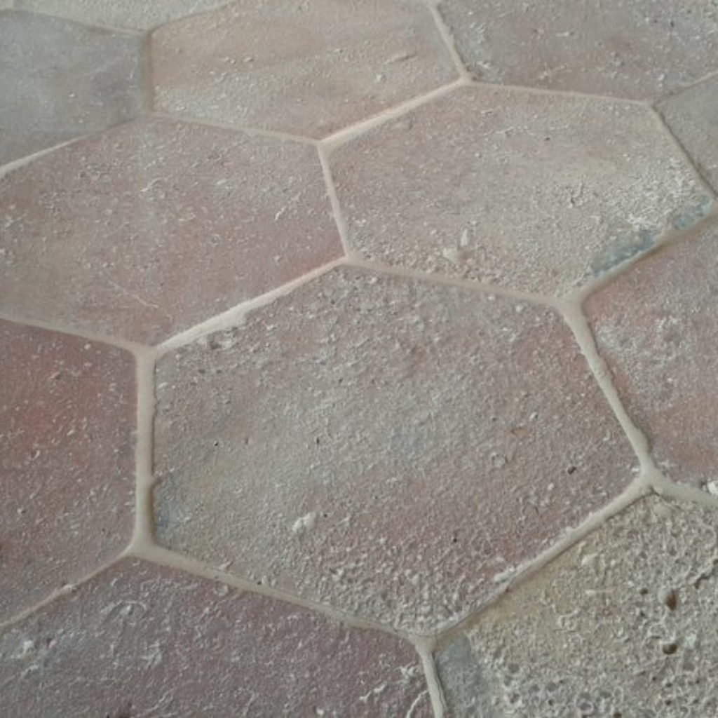 hexagonal reclaimed light terracotta tiles