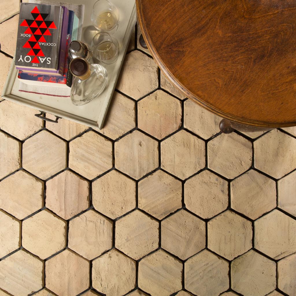 hexagonal reclaimed pale terracotta tile