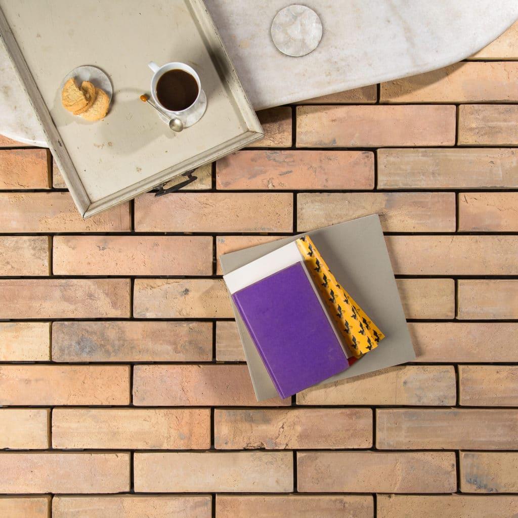 Thin pale reclaimed terracotta tile