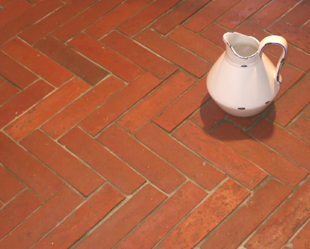 herringbone pattern reclaimed terracotta